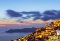 Santorini at night, long exposure Stock Photos