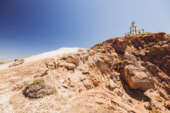 santorini oia острова Греция кальдера Маяк на скале Утесы стоковые изображения