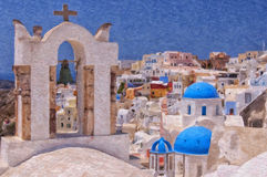 Santorini Oia Belltower Digital Painting Royalty Free Stock Images