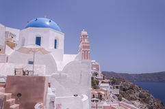 Santorini Oia Blue Domed Church Stock Photography