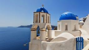 Santorini Oia Church panorama Royalty Free Stock Photos