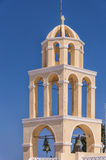 Santorini Oia Church Peach Bell Tower Stock Photos