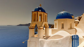 Santorini Oia Church sunset Stock Photos