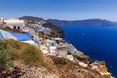 Santorini Oia coast. View at the coast of Oia at Santorini stock photo