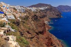 Santorini Oia coast. View at the coast of Oia at Santorini stock images