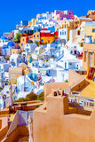 Santorini Oia Greece. View of pretty colorful houses. The awesome landscape of Santorini Traditional Houses Royalty Free Stock Images
