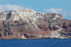Santorini - The Oia (Ia) on the cliffs of calera. Stock Photos