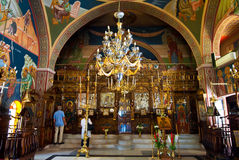SANTORINI,OIA-JULY 28: Interior of the Church of Agia Irini on July 28,2014 in Oia town on the Santorini island, Greece. Royalty Free Stock Photo