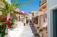 SANTORINI,OIA-JULY 28: Shopping street on July 28,2014 in Oia town on Santorini, Greece. Royalty Free Stock Photography