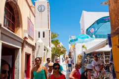 SANTORINI,OIA-JULY 28: Shopping street on July 28,2014 in Oia town on Santorini, Greece. Royalty Free Stock Photos