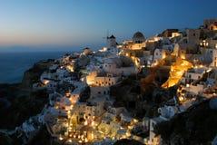 Santorini, Oia na noite Foto de Stock