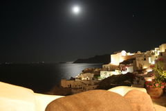 Santorini Oia Night - Greece. Suggestive panorama from Oia (Santorni Greece) - Romantic landscape Stock Photo
