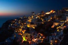 Santorini Oia at night Stock Photos