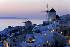 Santorini, Oia, oscuridad Fotografía de archivo libre de regalías