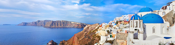 Santorini Oia. Panoramic view of Oia village on Santorini island, Greece Stock Photography