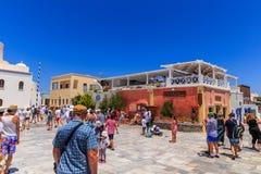 Santorini Oia square. Main square of Oia at Santorini stock images