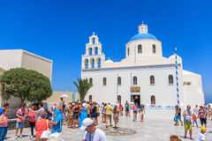 Santorini Oia square. At santorini village Oia at main square royalty free stock photography