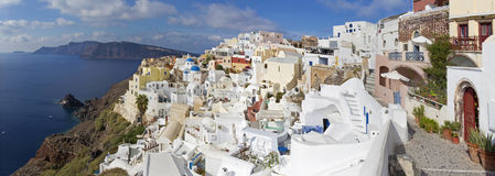 Santorini - The Oia and Therasia island in the background. Stock Image