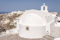 Santorini Oia White Church Stock Image