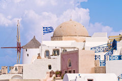 Santorini Oia Windmill Sky, Clouds Royalty Free Stock Images
