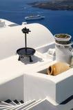 Santorini olive press view Stock Image