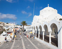 Santorini - The Orthodox Metropolitan Cathedral in Fira Royalty Free Stock Images