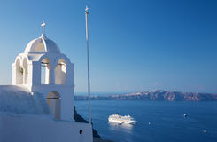 Santorini - The outlook from Fira ower the church tower to caldera Stock Images