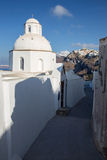 Santorini - The outlook from little church in Fira to Firostefani and Imerovigli in morning Royalty Free Stock Image