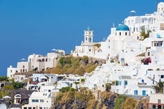 Santorini - The outlook over the Imerovigili to caldera with the Therasia island in the background. Stock Photos