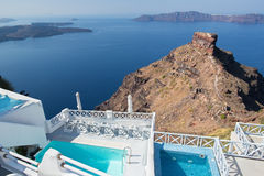 Santorini - outlook over the luxury resort in Imerovigili to caldera Stock Image