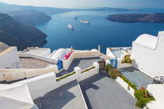 Santorini - The outlook over the luxury resort in Imerovigili to caldera Stock Image
