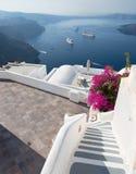 Santorini - The outlook over luxury resort in Imerovigili to caldera with the cruises. Stock Photography