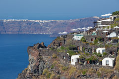 Santorini - The outlook over the luxury resort in Imerovigili to caldera with the Therasia island Stock Photography