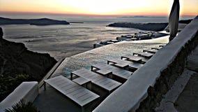 Santorini overzeese mening over volcane stock foto's