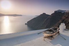 Santorini på solnedgången Arkivbilder