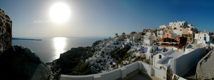 Santorini Panorama. View over the town of Oia in the Greek Islands Royalty Free Stock Images