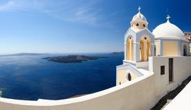 Santorini panorama with church Royalty Free Stock Photography
