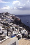 Santorini panorama with cruisers Stock Images