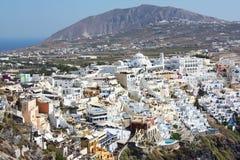Santorini, panorama di Fira Immagini Stock