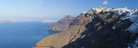 Santorini - The panorama of Fira and Firostefani at morning Royalty Free Stock Photo