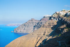 Santorini - The panorama of Fira and Firostefani at morning Stock Photos