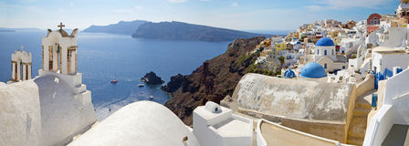 Santorini - The panorama of Oia and the Therasia island Stock Images
