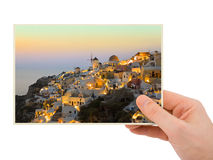Santorini photography in hand Royalty Free Stock Images