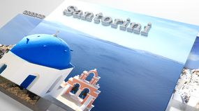 Santorini places to visit in slideshow like set photos. And 3d text Royalty Free Stock Photos