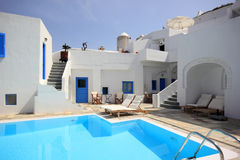 Santorini Pool House Royalty Free Stock Photos