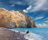 Santorini - a praia preta Foto de Stock Royalty Free