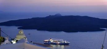 Santorini przy nocą Obrazy Stock