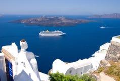 Santorini Reiseflugzwischenlage Stockbild