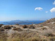 Santorini Romantische Mening royalty-vrije stock fotografie