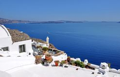 Santorini roof view Royalty Free Stock Photos